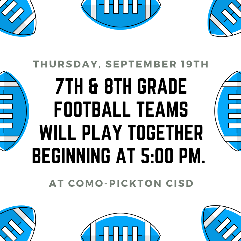 7th and 8th Grade football will play together