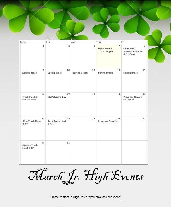 March junior high events